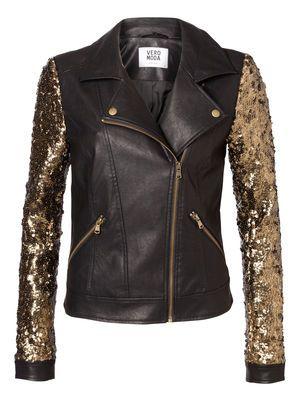 Biker glam, sequin and leather, Vero Moda