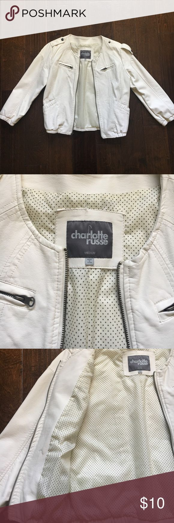 White leather jacket! It is a white leather jacket perfect for a windy day. Very confortable. Worn only once. Charlotte Russe Jackets & Coats