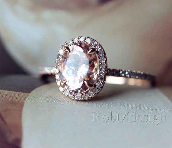 This oval-cut morganite ring: