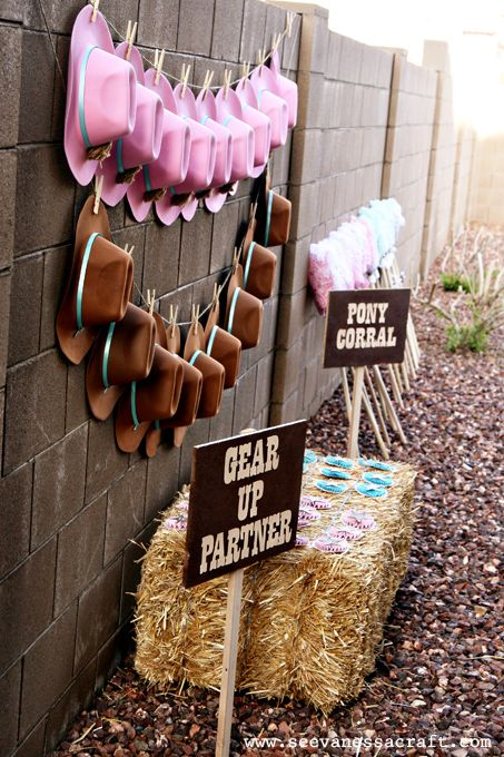 Adorable pink and turquoise cowgirl party gear
