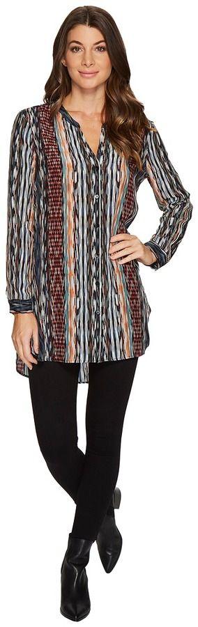 Nic+Zoe Color Streaks Tunic Women's Long Sleeve Button Up