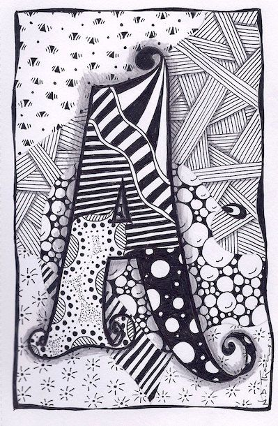 Zentangle, Letter A, Zebra Letters, name, bunting