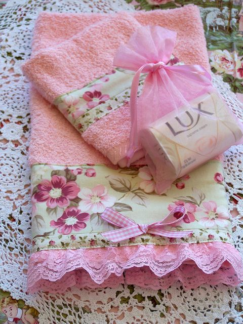 Decorative Shabby Chic pink towel set- lace to edge | Flickr - Photo Sharing!