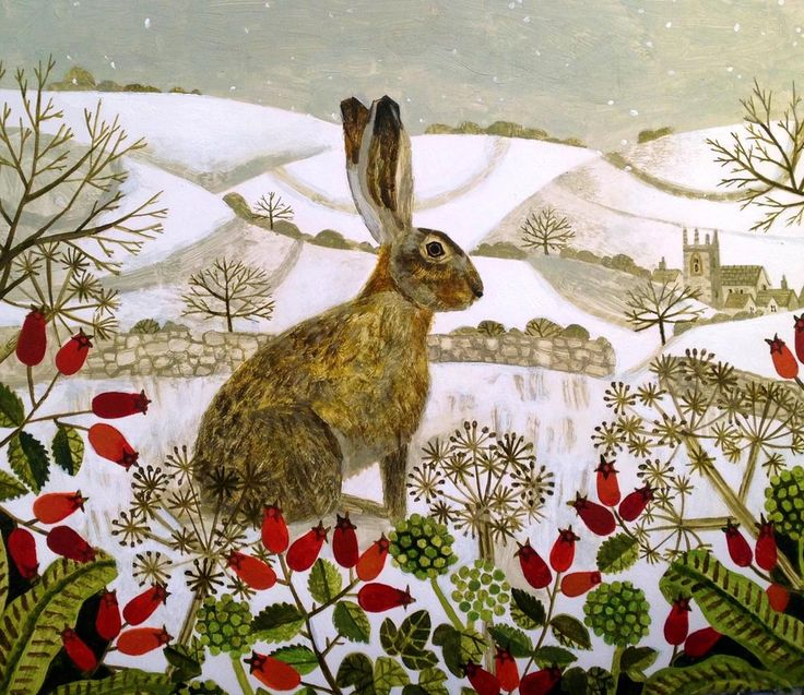 """Seated Hare in the Snow"" by Vanessa Bowman                                                                                                                                                     More"