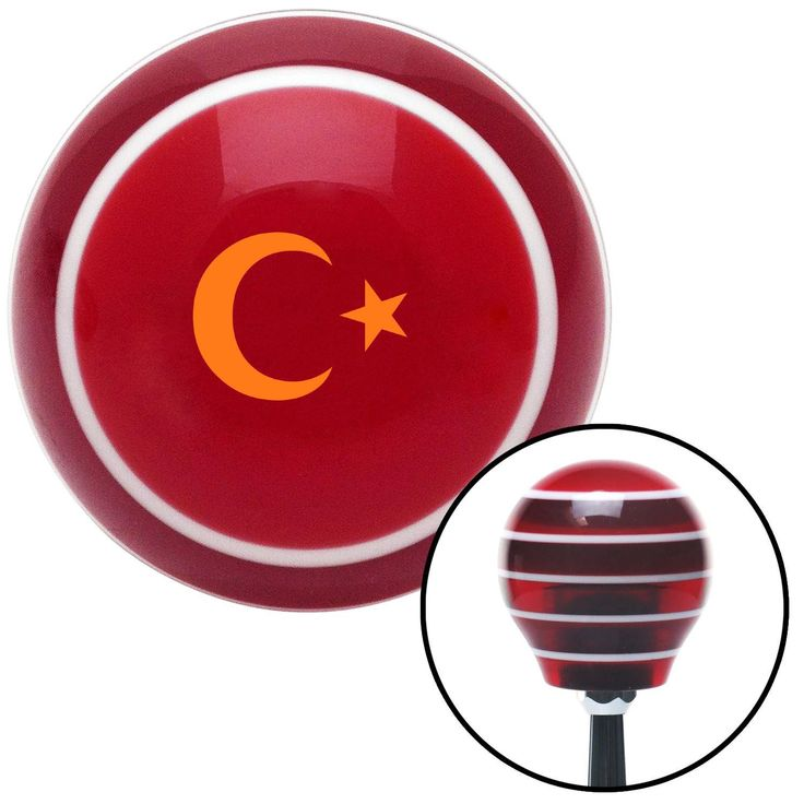 Orange Symbol of Islam Red Stripe Shift Knob with M16 x 15 Insert