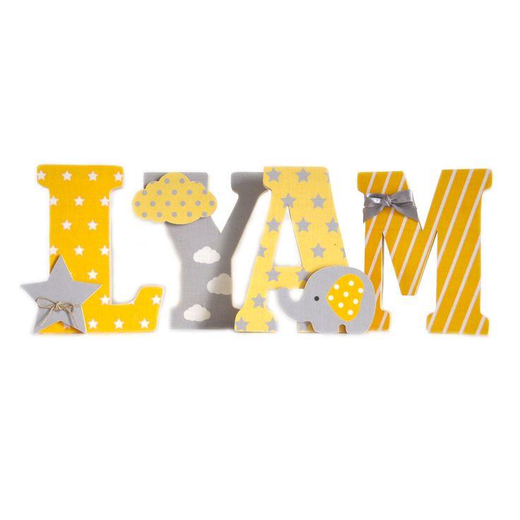 Lettres prénom en Bois et tissu imprimé pour chambre enfant modèle jaune et gris
