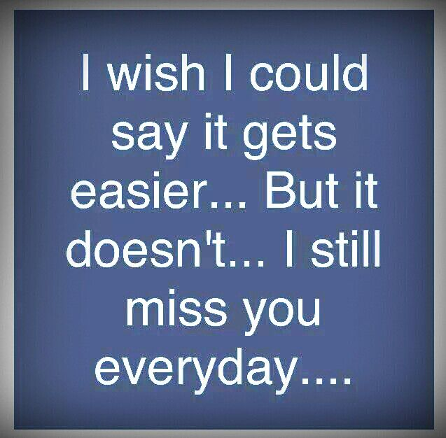 Such an ache in my heart...such an empty feeling...it will never get easier...miss you so much!