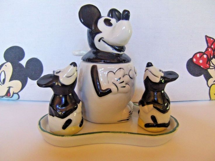"""1930s Disney Mickey Mouse  Germany Condiment set 6 Pieces Exc Cond. 4""""x4.5""""x3.5"""""""