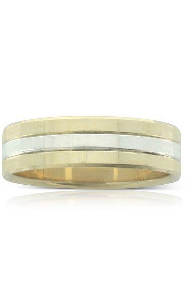 Yellow & white gold flat men's ring