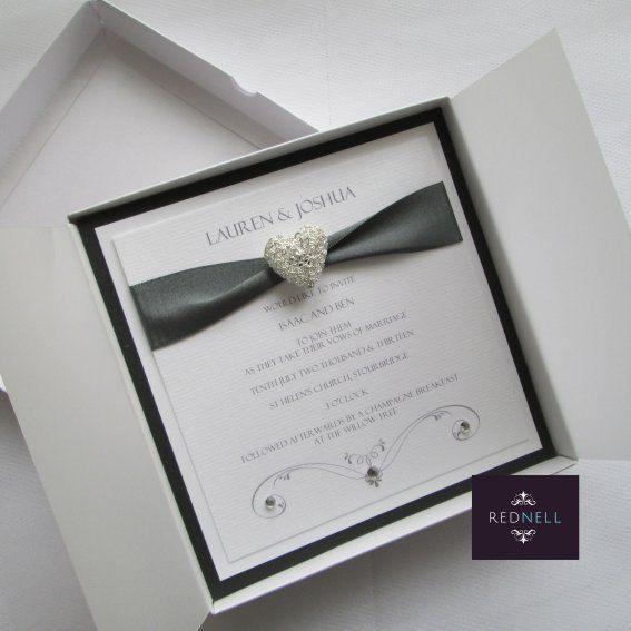 grey wedding invitation boxed luxury couture modern elegant gray