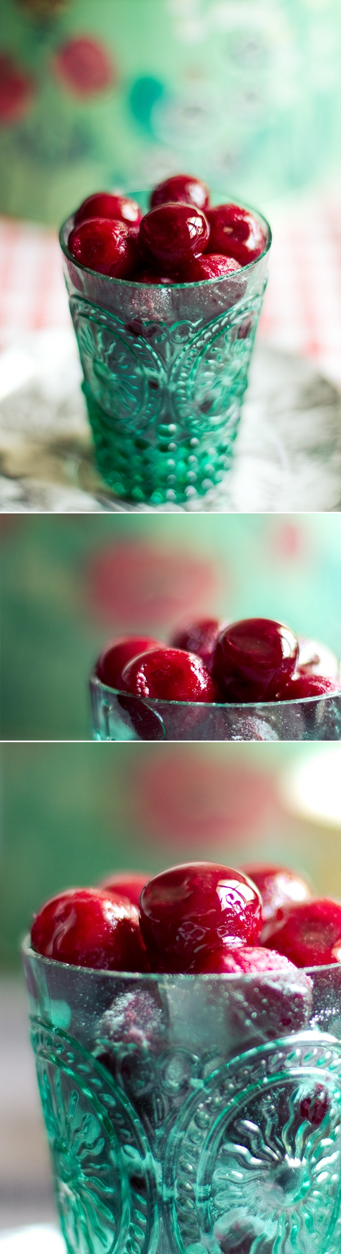 bing cherries in an aqua glass