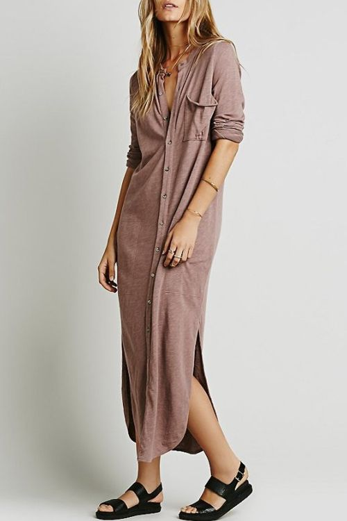 Long Sleeve Solid Color Maxi Cardigan