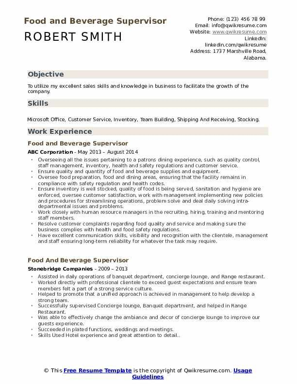 Food And Beverage Supervisor Resume Samples Qwikresume In 2020 Resume Template Resume Design Template Resume