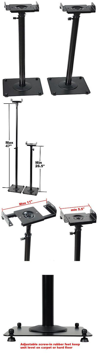 Speaker Mounts and Stands: Bookshelf Speaker Stands Adjustable Heavy Duty Floor Satellite Surround Sound BUY IT NOW ONLY: $51.99