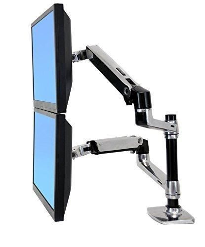 """Halter Dual LCD Adjustable Monitor Stand Dual Stacking Arm Desk Clamp/Grommet Base- Optional Use for Either 2 LCDs or LCD and Laptop Holds up to 32"""" LCD Monitors"""