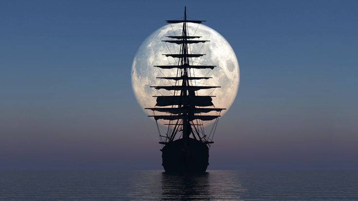 силуэт, океан, паруса, корабль, небо, Море, луна, мачты 1920 на 1080