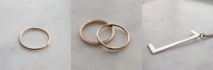 Gold stack ring and square silver bracket by Silver theories