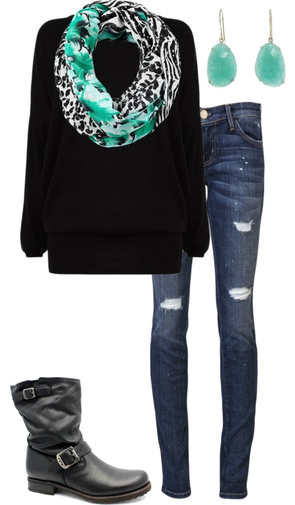 dont like the boots or earrings but cute outfit... especially the scarf, LOVE the scarf.