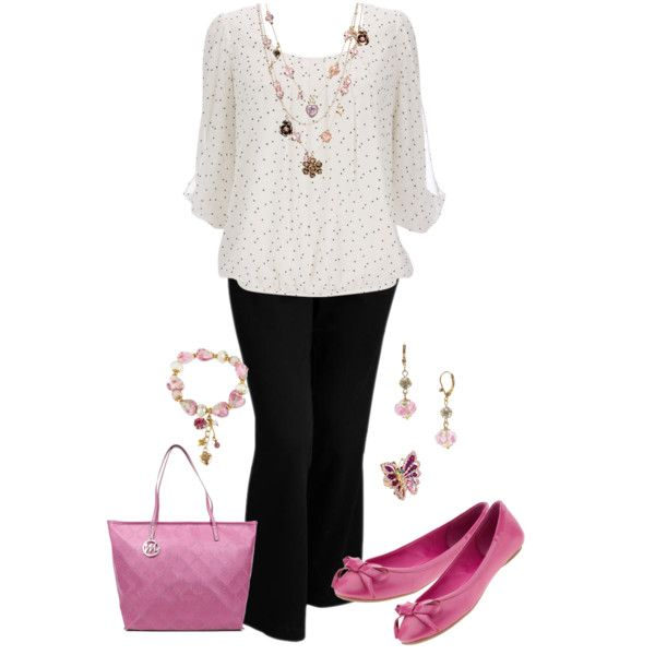 Plus Size Work in White & Pink, created by elise1114 on Polyvore
