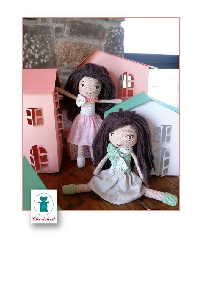 36cm crochet dolls - mint peach