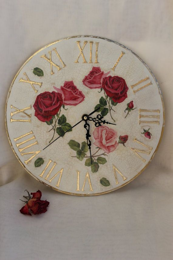 Shabby chic Wall clock large shabby chic by BellesAmiesDecor