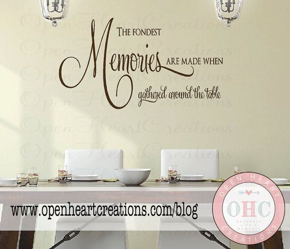 The Fondest Memories Are Made When Gathered Around The Table Wall Decal    Kitchen Table Or Dining Room Wall Saying X