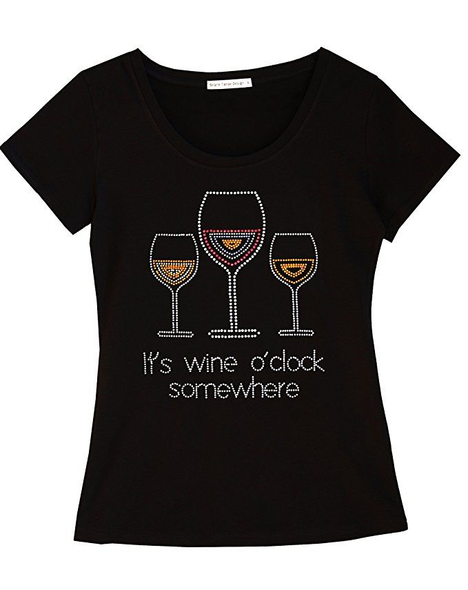 f5465620 It's Wine O'Clock Somewhere Fun Women T-Shirt With Rhinestones For Wine  Lovers (Small)