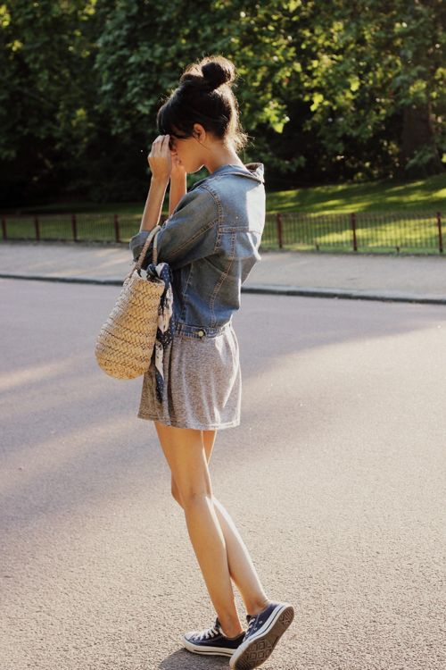 Denim jacket + grey dress + sneakers