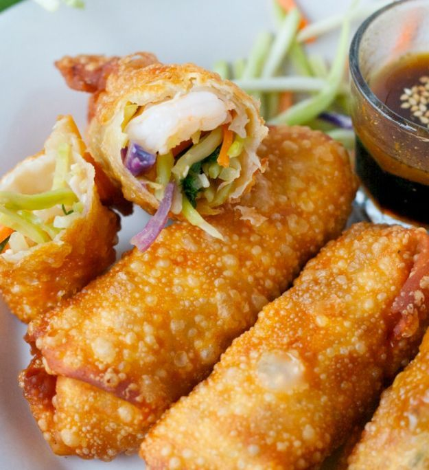 Shrimp and Veggie Egg Rolls | 15 Homemade Egg Rolls With Savory And Sweet Flavors | Must Try Delicious Side Dish or Appetizer Recipe, check it out at  http://homemaderecipes.com/15-homemade-egg-rolls/
