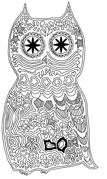 Trippy Owl Coloring Page Free Printable Online