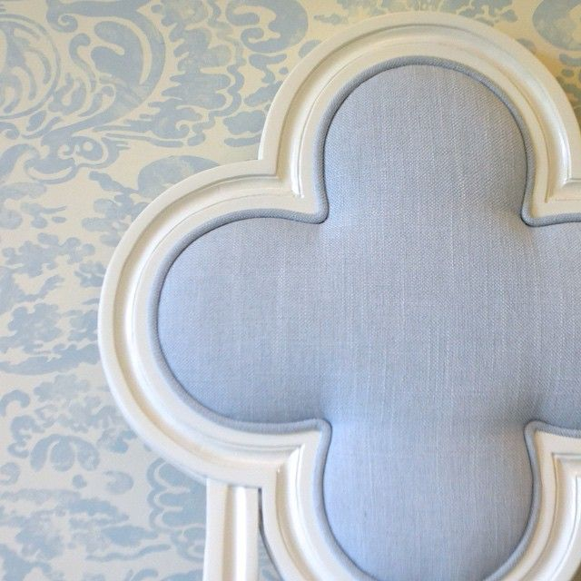 upholstered clover dining chair   quadrille fabrics china seas wallpaper   blue print   blueprintstore.com