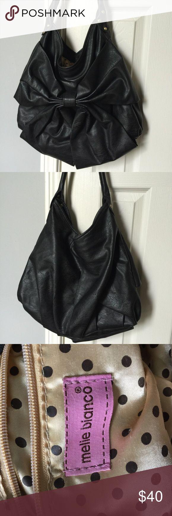 Melie Bianco Black Bow Purse Adorable black bow Melie Bianco purse A barely used! Melie Bianco Bags Shoulder Bags