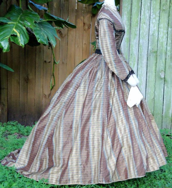 Brown patterned silk day dress, ca. mid 1860s, worn by Mary Pugh Mahan | In the Swan's Shadow