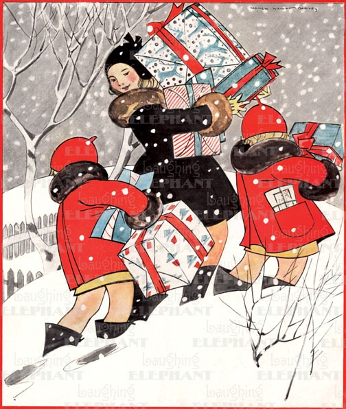 trudging through with the Christmas gifts! Vintage illustration