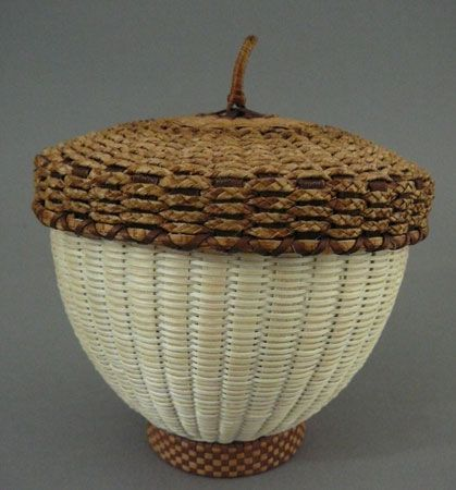 Acorn basket with cedar cover by Jeremy Frey, Passamaquoddy: