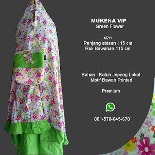 Mukena Vip Green Flower - Grosir Pesan Mukena katun jepang santung bordir batik bali murah anak