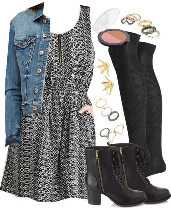 Edgy Hanna Marin inspired outfit with thigh high socks and FOREVER 21 items por liarsstyle usando lace up booties