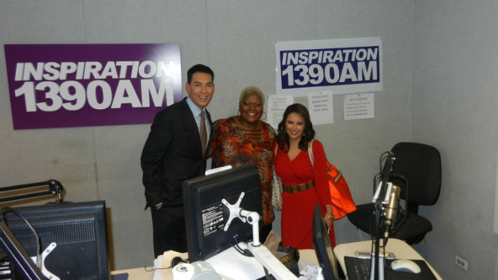 Stefan Holt, Inspiration weekday host Effie Rolfe and Daniella Guzman. -- The interview will air Saturday, May 12 @ 7am on Inspiration 1390AM and Sunday, May 13 @ 7am on WGCI 107.5FM.