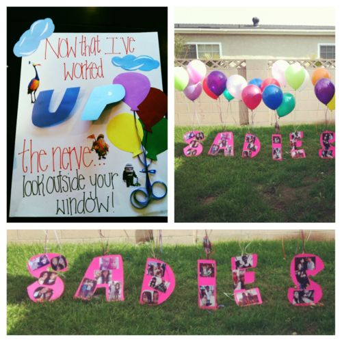 Now that I worked up the nerve... Will you go to sadies with me? Ask with balloons.