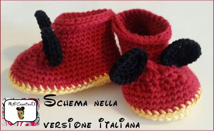 Scarpette neonato (0-6 mesi) Topolino. Lo schema è disponibile in italiano. Contattatemi per riceverlo!