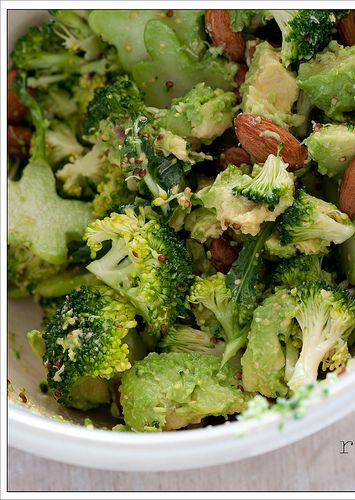 Raw broccoli & avocado salad. Never thought of these together, looks good!