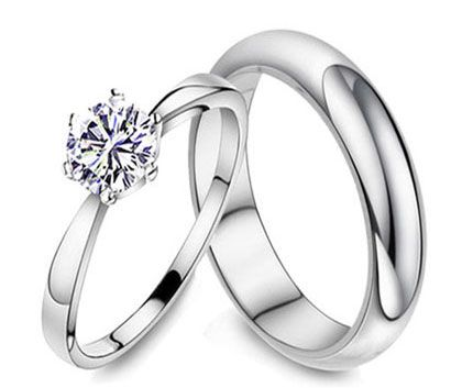 Sterling Silver His and Hers Matching Wedding Band & CZ Promise Ring Set for Couples HR-0125