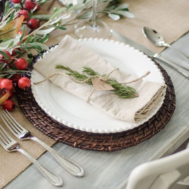 #Thanksgiving to me is always a transitional holiday that celebrates the overall spirit of gathering and family during the holiday season. I created this simple and classic place setting with @birchlane rattan chargers, white plates, and berry branches. I think it could so easily transition to Christmas! #elementsofthanksgiving #birchlane #holidayseason #gather #tablescape #sponsored
