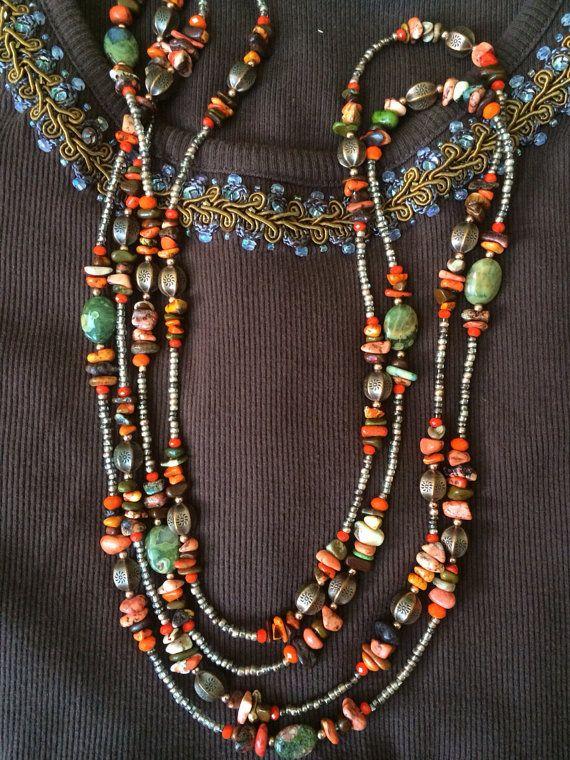 Long Hippie Boho Necklaces. Warm earth tonesBali by Cathrineann