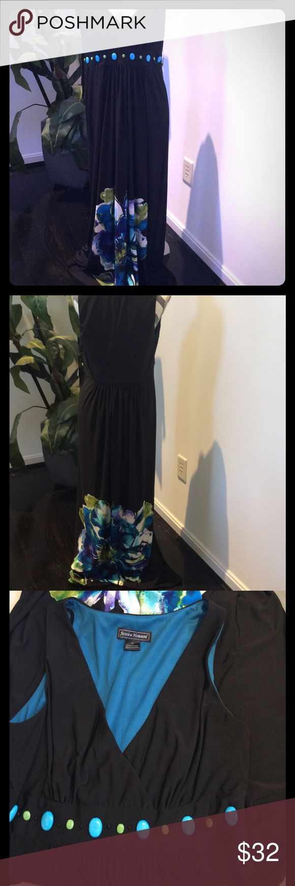 JESSICA HOWARD MAXI DRESS PRETTY BLACK BACKGROUND WITH BLUES AND GREENS ON A FLOWER PRINT ON THE BOTTOM AND BEADS ACROSS THE EMPIRE WAIST. NO SLEEVES AND ZIPS UP THE SIDE. V NECK IN FRONT. NEW W/TAGS. SIZE 12. Jessica Howard Dresses Maxi