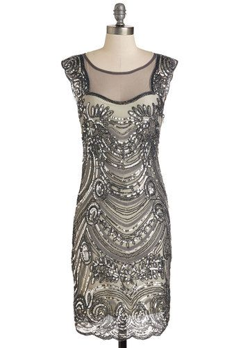 Deco-dent Evening Dress - Grey, Backless, Beads, Sequins, Party, Holiday Party, Sheath, Mid-length, Knit, Mixed Media, Cap Sleeves, Scallops