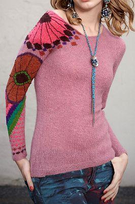 """Пуловер с цветочным """"тату""""!"""