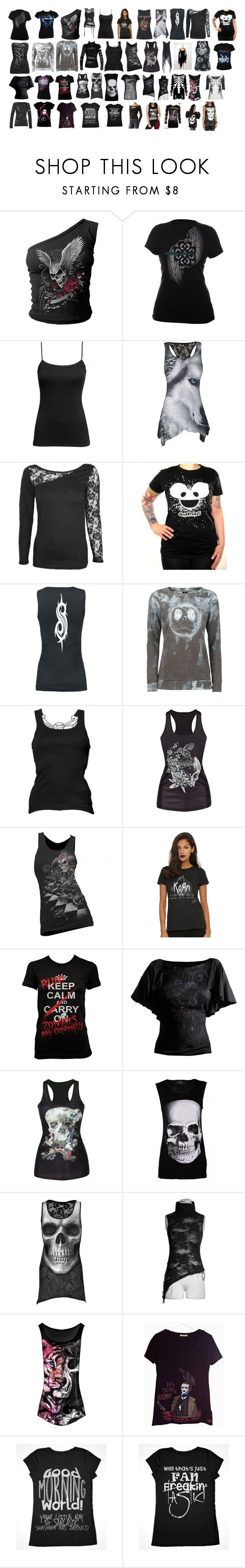"""""""Lanya's Shirts #1"""" by switchback13 ❤ liked on Polyvore featuring Ascension, H&M, Roland Mouret, Whitby, Hot Topic, AX Paris, Abbey Dawn, Killstar, Poizen Industries and Ed Hardy"""