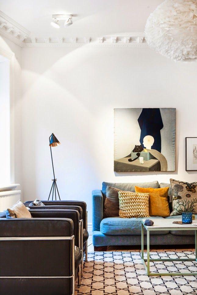 Living room in a Gothenburg home via My Scandinavian Home.