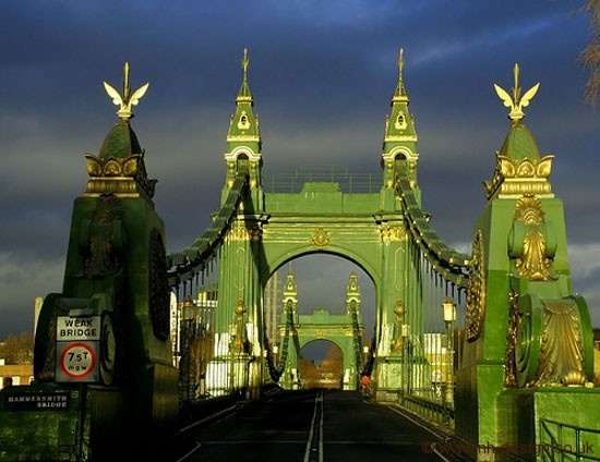 Hammersmith Bridge London...crossed it numerous times visiting my sister...It's beautiful.